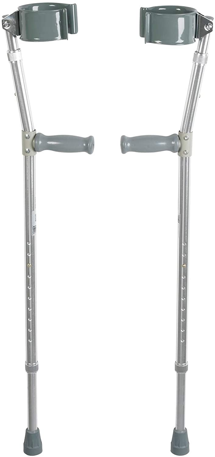 Drive Medical Forearm Crutch, Gray, Adult (1-Pair)