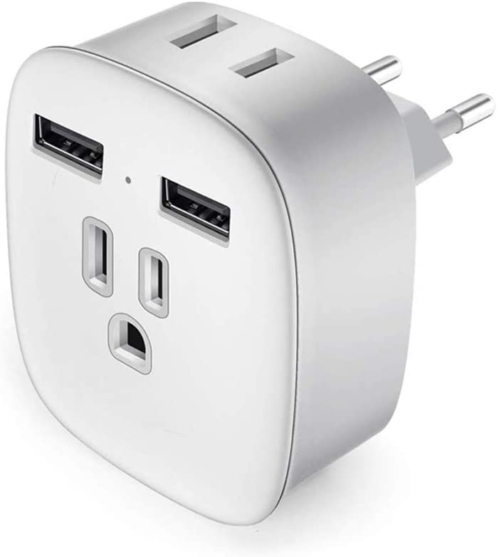 European Plug Adapter, MVORVTC International Travel Power Adapter with 2 USB, 4 in 1 US to Europe Travel Plug Type C Adapter for France,Italy,Germany,Greece,Spain (White+Grey)