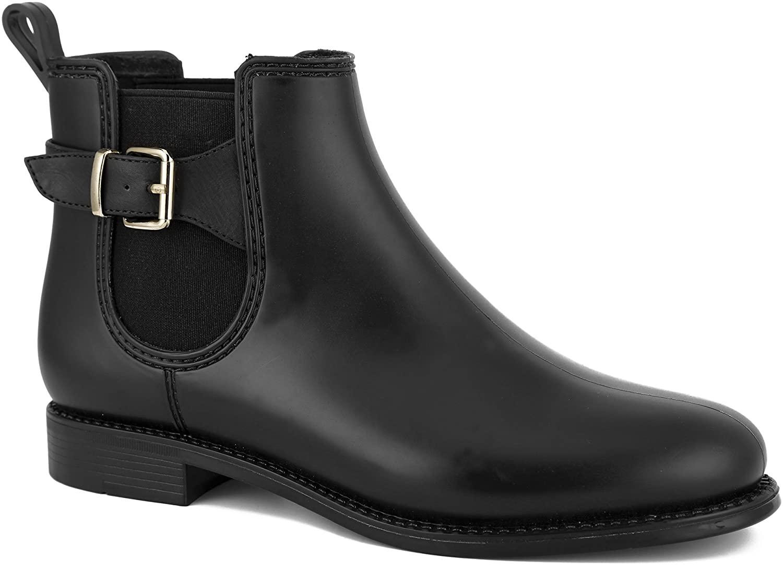 MaxMuxun Women Shoes Chelsea Block Heels Classic Rain Boots