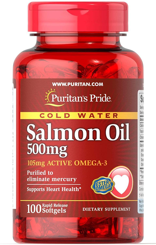 Puritan's Pride Omega-3 Salmon Oil 500 mg (105 mg Active Omega-3)-100 Softgels