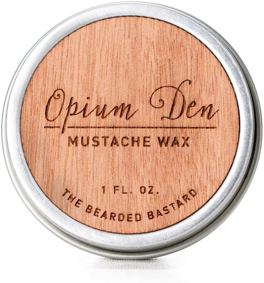 Opium Den Mustache Wax   Strong All Day Grooming Hold Mustache Wax, Natural Essential Oils with Beeswax and Jojoba Oil,Men's Care Great Smelling Facial Hair Products