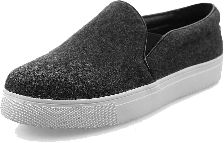 A-BUYBEA Women's Wool-Blend Loafer-Shoes Elegant Flat Slip-ons