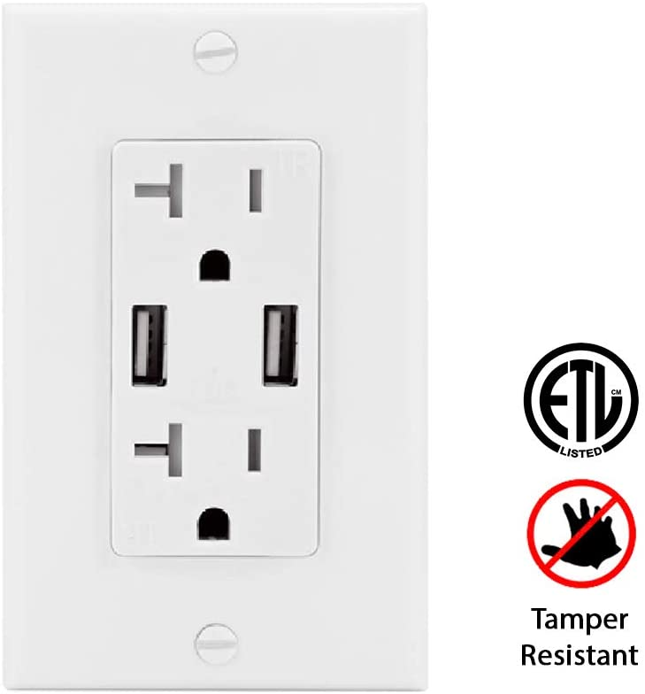 Teklectric - 4.2A Ultra High Speed Dual USB Charger Outlet - 20A Tamper Resistant Receptacle UL Approved - Wall Plate and Screws Included