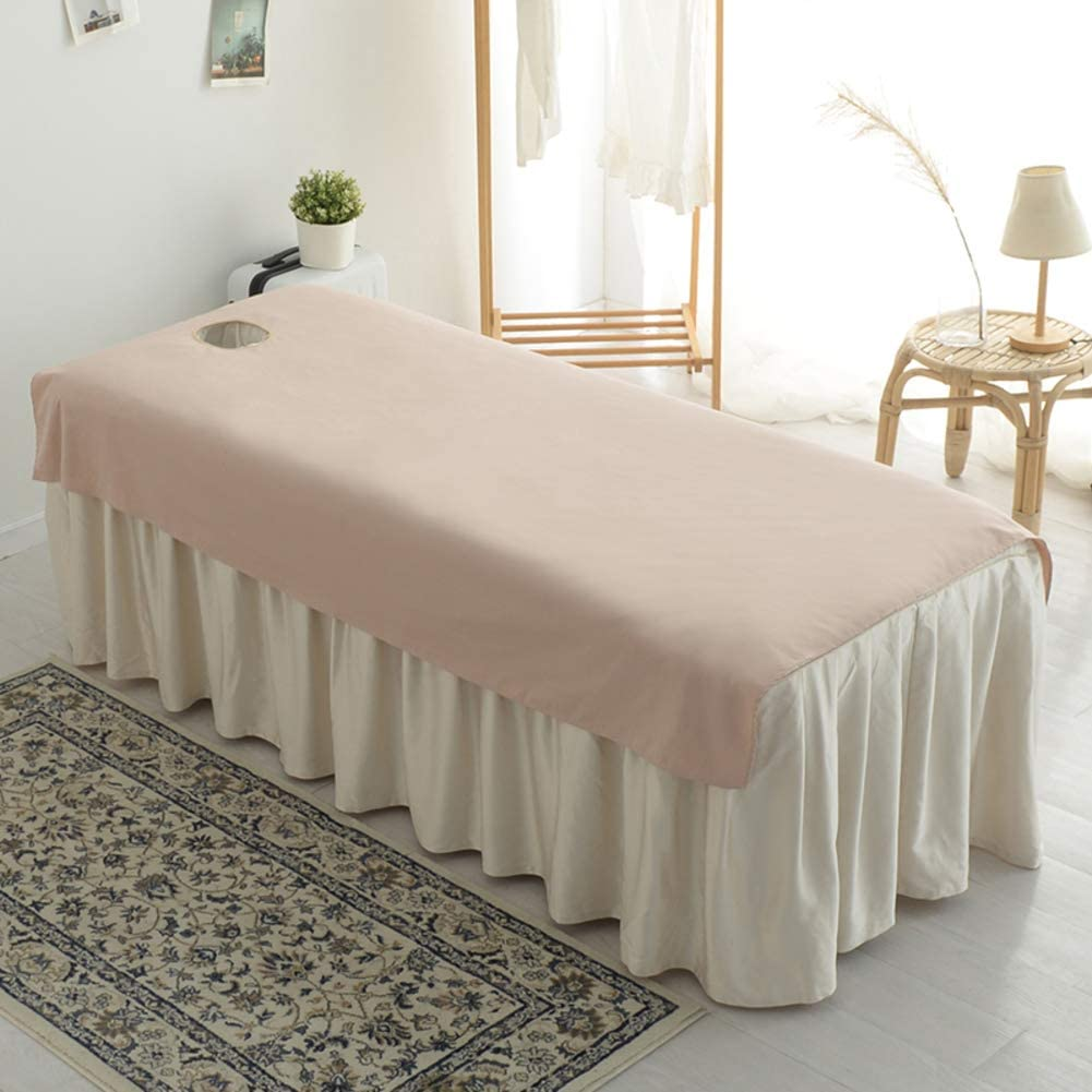 DXTY Cotton Beauty Salon Body Spa Massage Bed Cover with Face Hole Pure Color Fitted Massage Couch Sheet Massage Table Cover Sheet for Beauty Salon Spa A 205x115cm