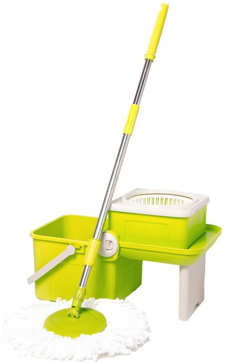 Deluxe Compact Folding Spin Mop - Microfiber Mop with Bucket for Hardwood Floor