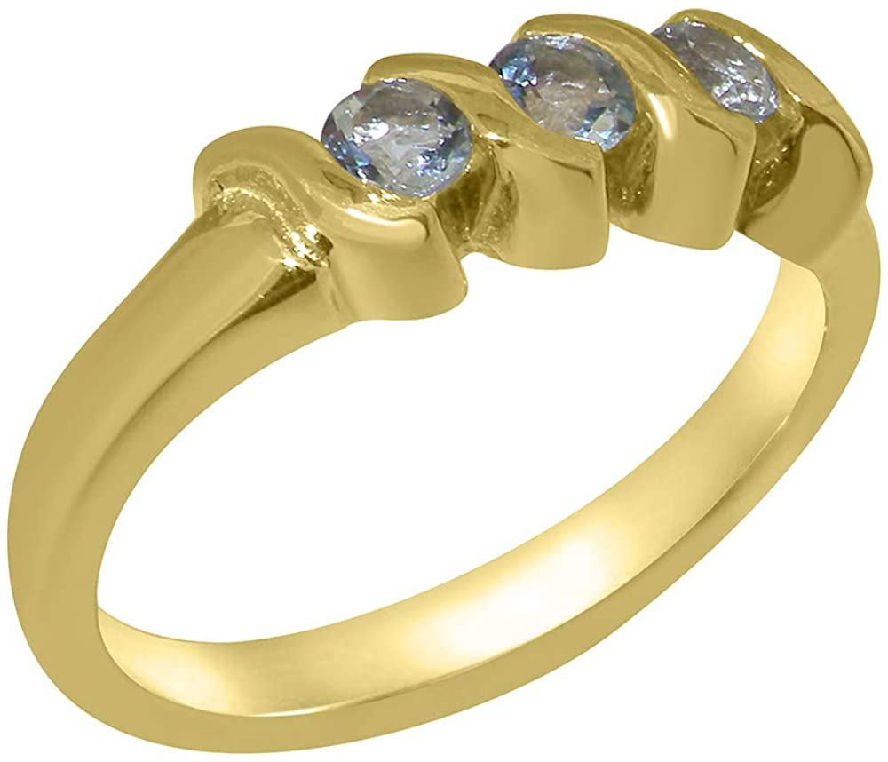 Solid 18k Yellow Gold Natural Aquamarine Womens Trilogy Ring - Sizes 4 to 12 Available