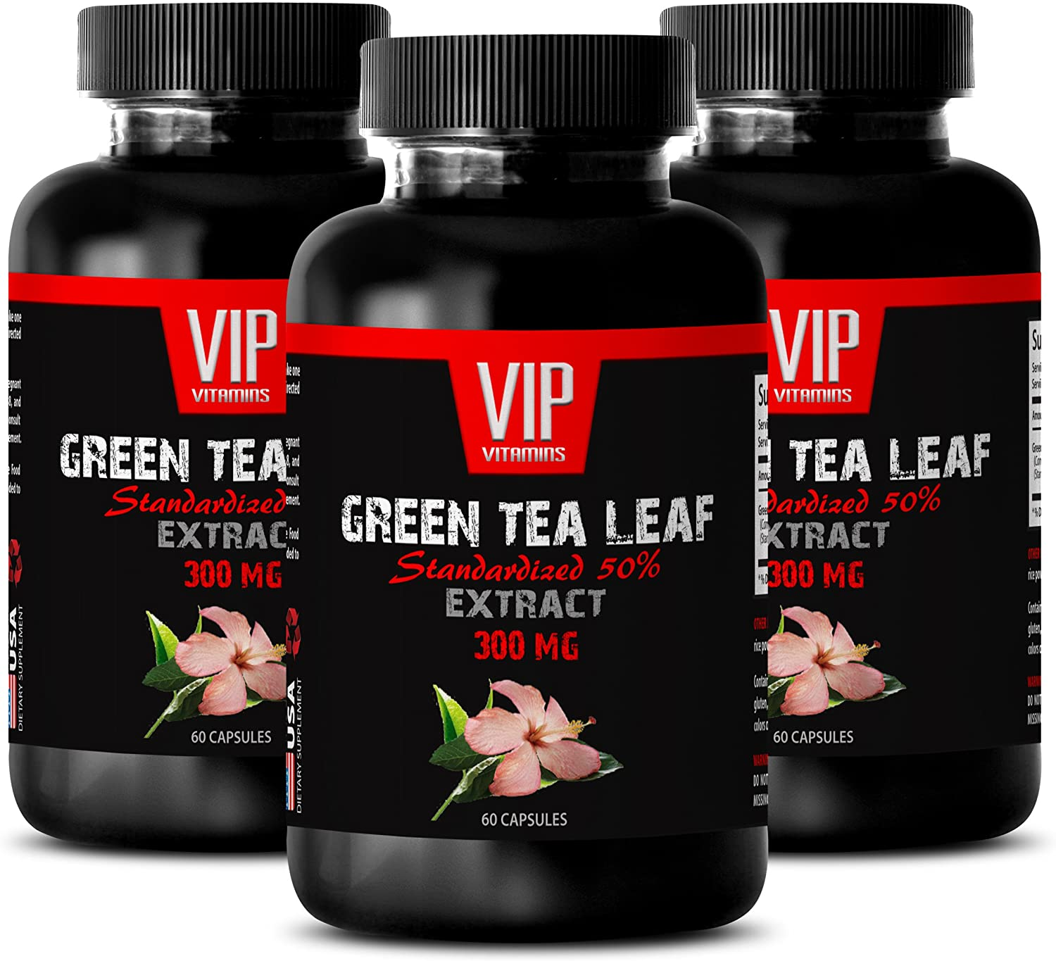 antioxidant Vitamins and Minerals - Green Tea Leaf Extract 300 MG - STANDARDIZED 50% - Green Tea Fat Burner Supplements - 3 Bottles 180 Capsules