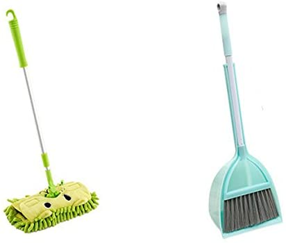 Xifando Mini Housekeeping Cleaning Tools for Children,3pcs Include Mop,Broom,Dustpan (Green Mop+Frash Blue Broom&Dustpan)