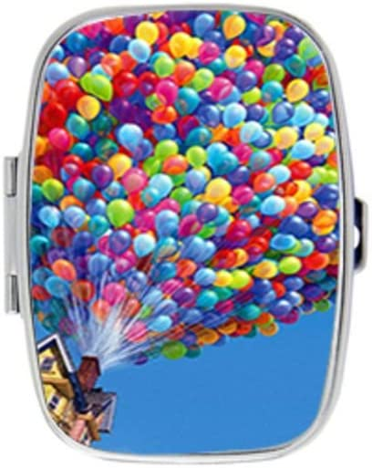 Show Show Colorful Balloons House Up Movie Stainless Steel Rectangular Pill Box Medicine Organizer Container Case Pocket or Purse