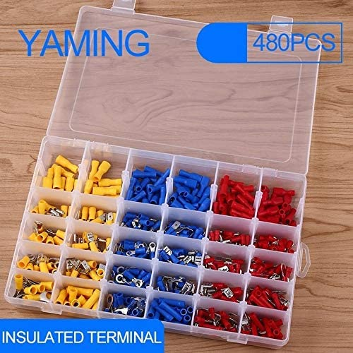 Onvas 480pcs Insulated Terminals Electrical Crimp Connector Butt Spade Ring Fork Set Spade Assorted Insulated Electrical Wiring Wire
