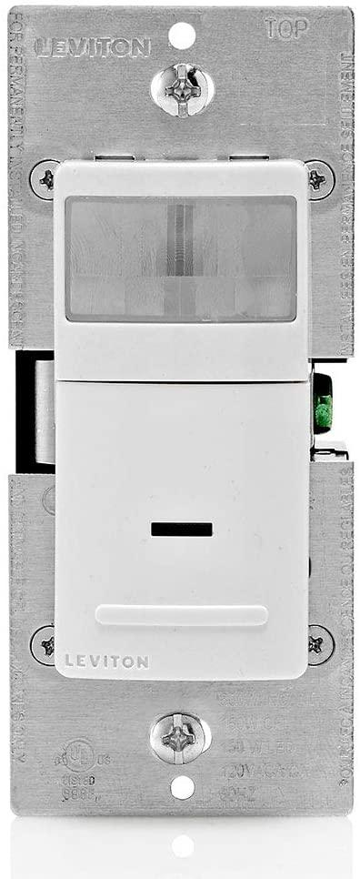 Leviton IPV05-1LZ Decora Vacancy Motion Sensor In-Wall Switch, Manual-On, 5A, Single Pole, White/Ivory/Light Almond
