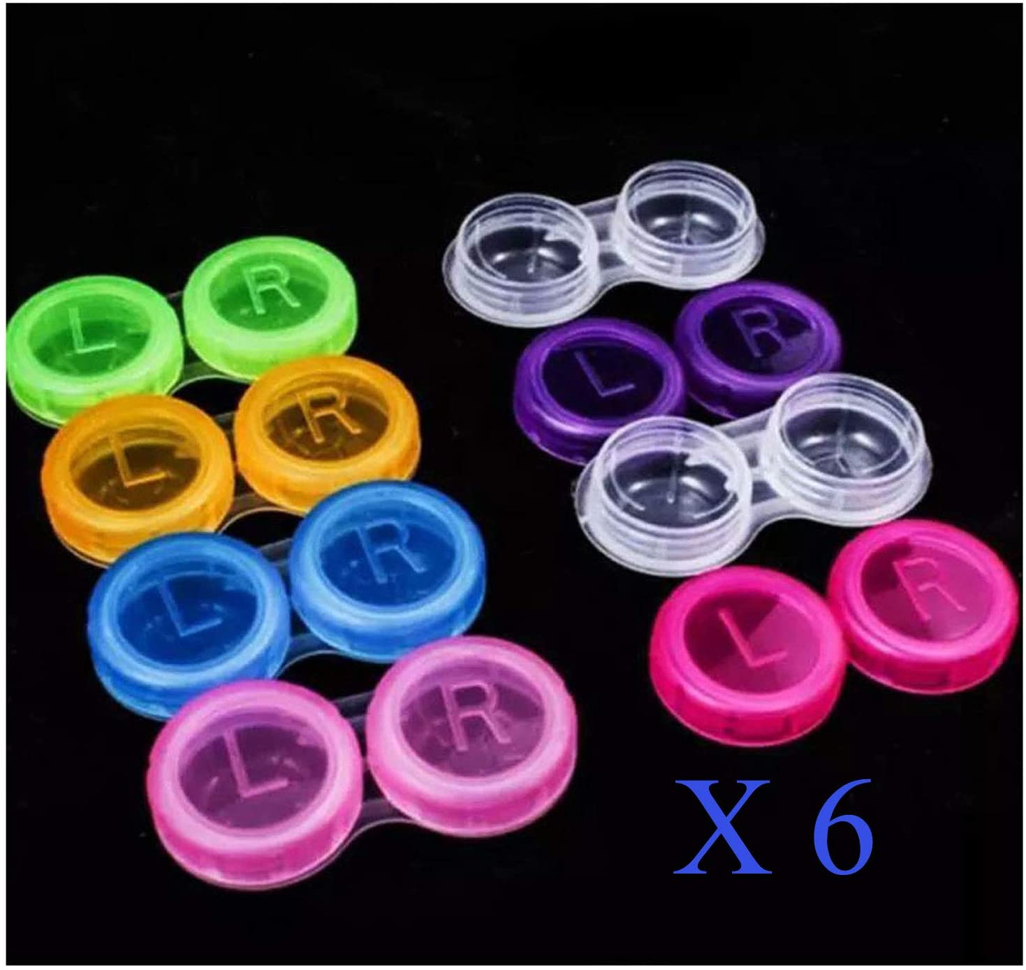 6 X Set of Plastic Contact Lens Storage Soaking Cases L + R Marked