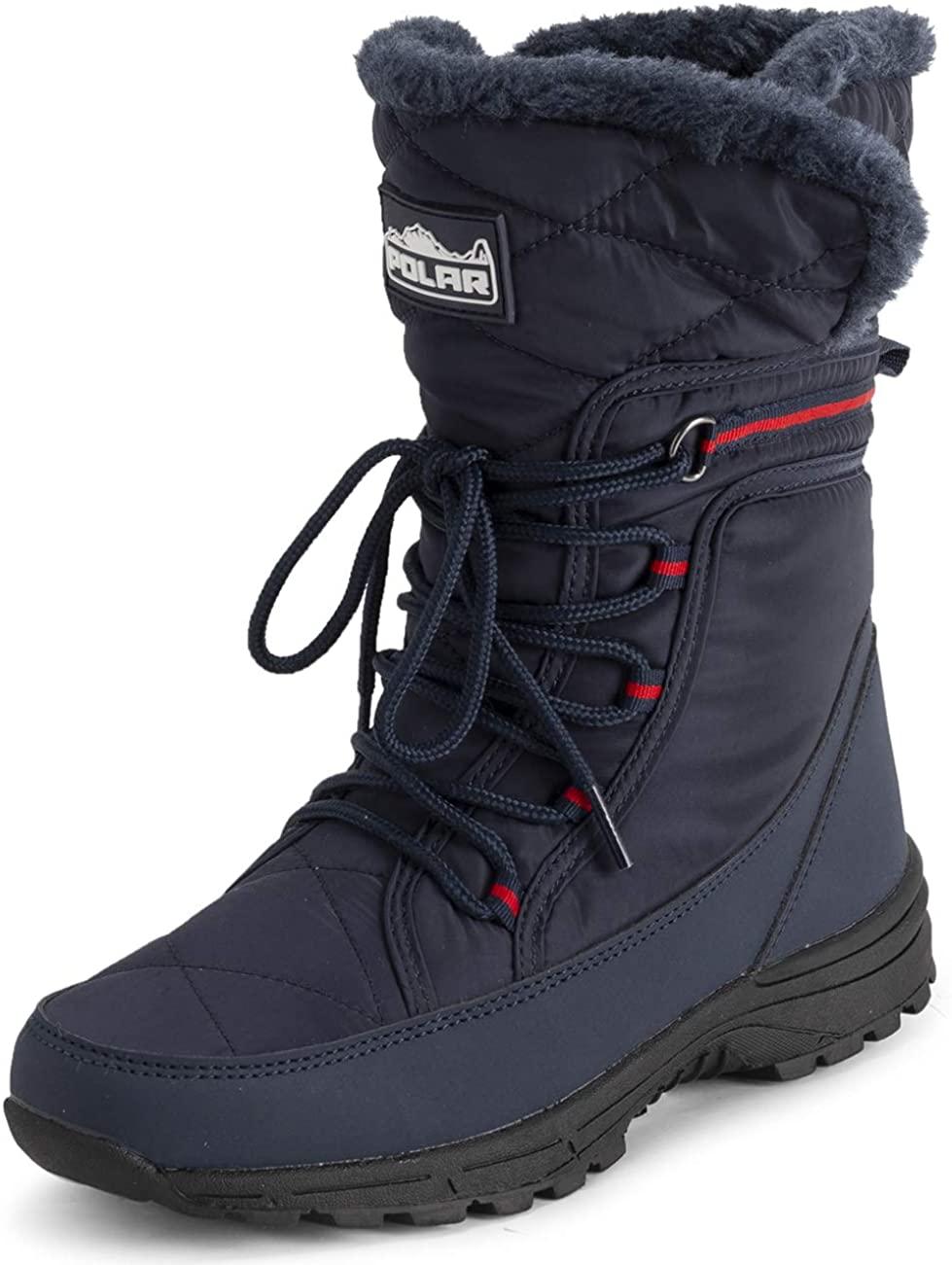 Polar Womens Memory Foam Faux Fur Cuff Deep Tread Non Slip Rubber Sole Winter Snow Thermal Outdoor Boots - Navy - EU38/US7 - YC0704