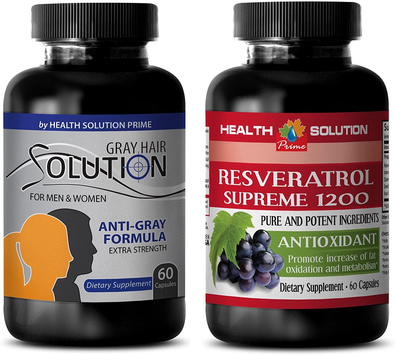 antioxidant Formula - Gray Hair - RESVERATROL 1200 - zinc Supplement - (2 Bottles Combo)