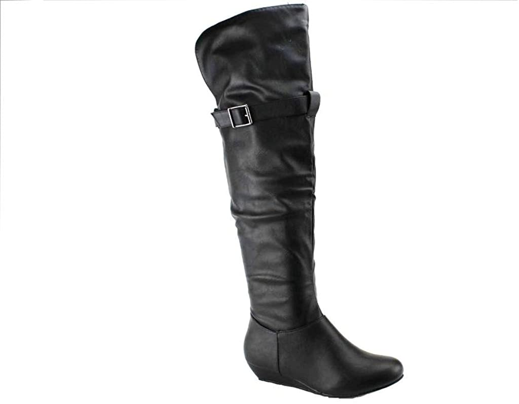 Ositos Karyn's Women's BDW-11 Tall Ruched Over-The-Knee Thigh High Wedge Heel Boots