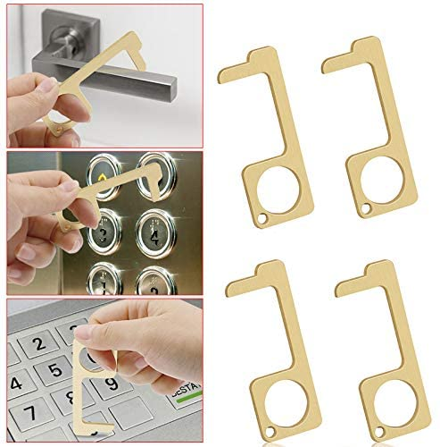 4 Pcs Hand Door Opener Tool, No-Touch Door Opener Closer Stylus Elevator Button Protection, Safety Contactless Keychain Tool Handheld Brass EDC Keychain Tool, Keep Hands Clean