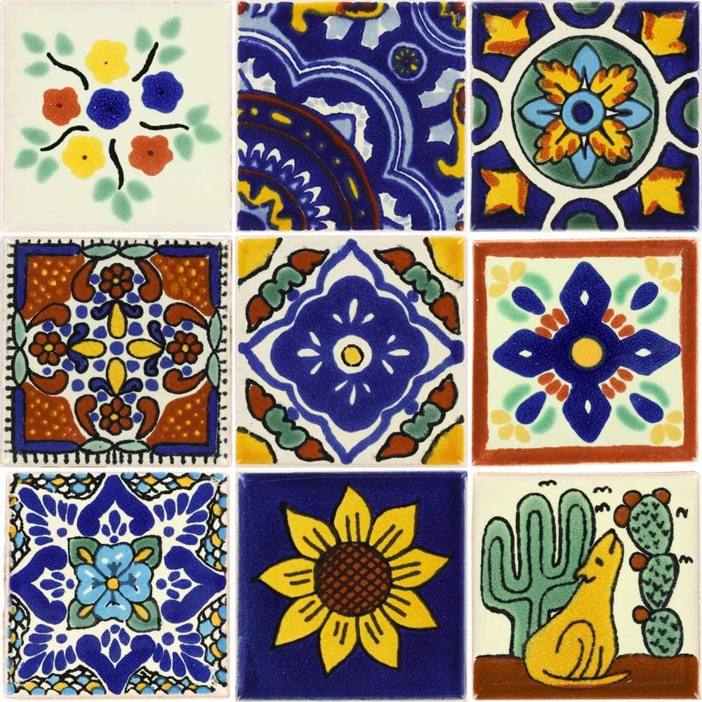 Tierra y Fuego Tile Set - Nine (9) 2 x 2 in. Ceramic Mexican Tiles - Talavera