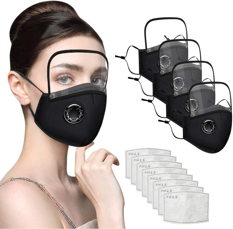 Cotton Outdoor Haze Dust Face Health Protection 4 Face Macks with Eyes Shield Detachable + 8 Filter Sheet for Adults Children (Adults Black)