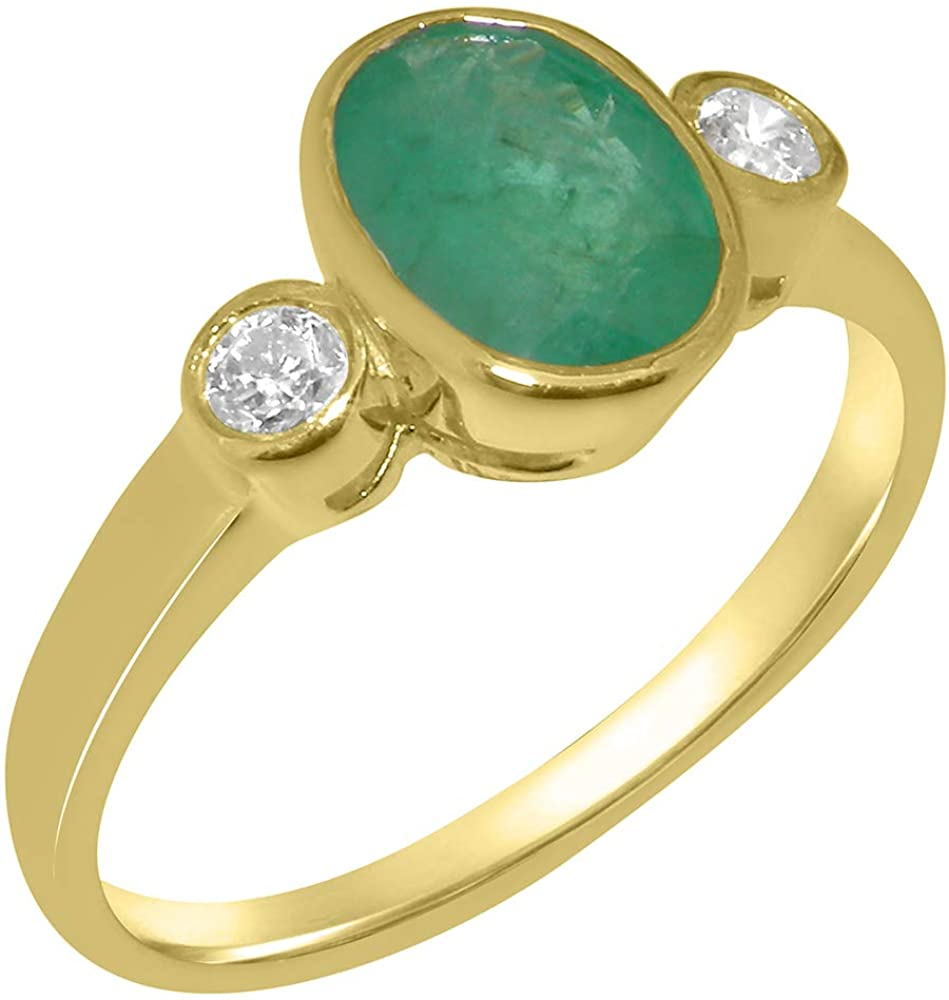 Solid 18k Yellow Gold Natural Emerald & Cubic Zirconia Womens Trilogy Ring - Sizes 4 to 12 Available
