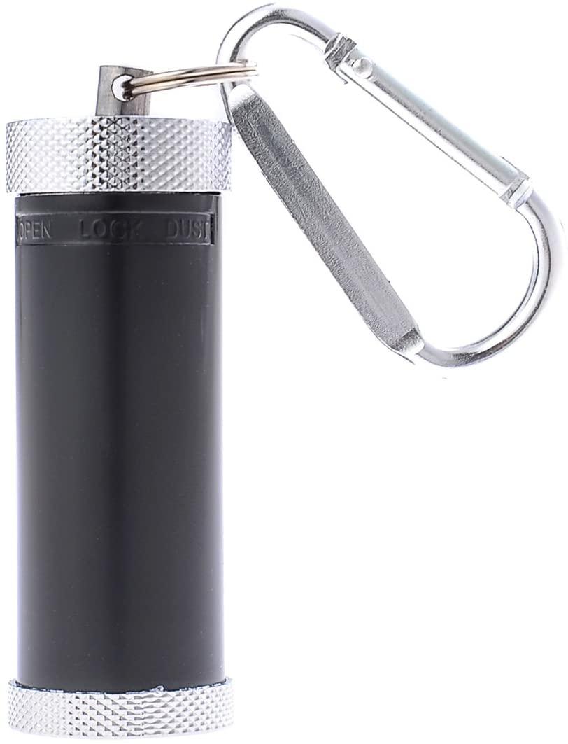 Cylindrical Mini Ashtray/Pocket Ashtray/Travelling Ashtray, Zinc Alloy, with Small Carabine, black, Mod. 022-01 (US)