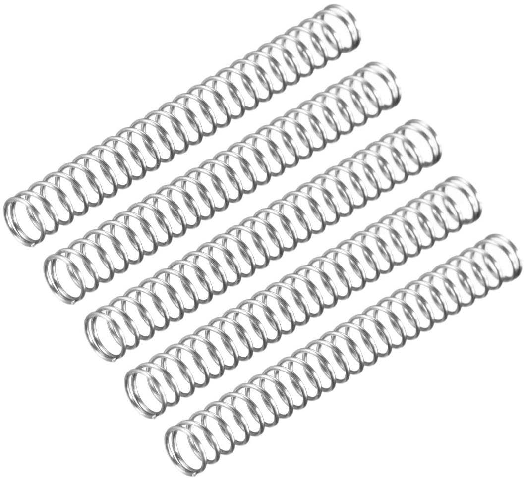 uxcell Wire Diameter 0.02 inches, OD 0.20 inches, Free Length 1.78 inches Stainless Steel Coil Extended Compressed Spring 5pcs