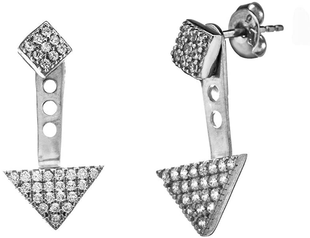 925 Sterling Silver Tear White CZ Cubic Zirconia Simulated Diamond Stud Earrings White Cubic Zirconia Triangle Charm Earrings Jewelry Gifts for Women