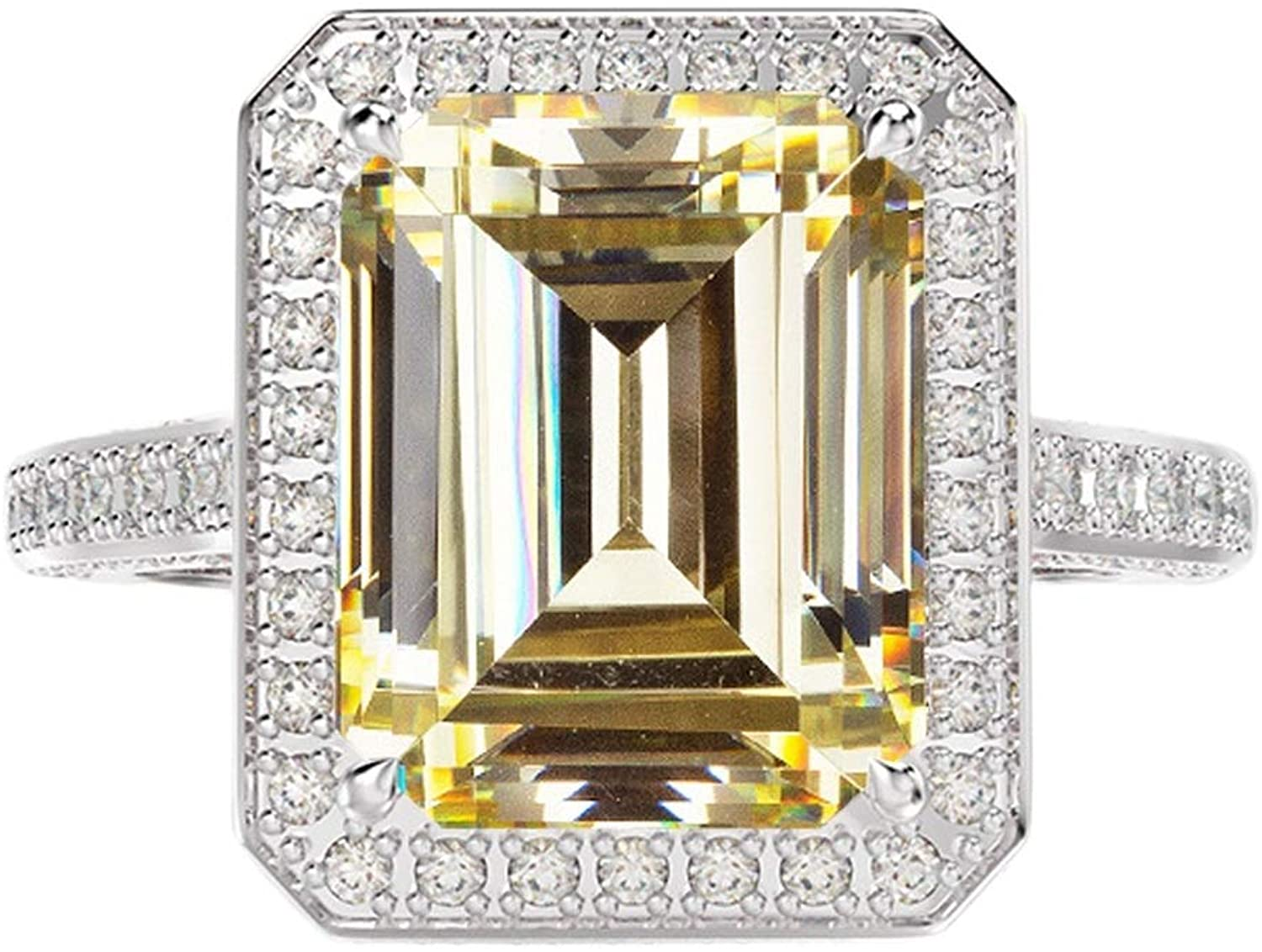 Beydodo Rings for Women Sterling Silver 925, Promise Rings for Her Tennis Ring with Yellow Emerald Cubic Zirconia Size 5 to 12
