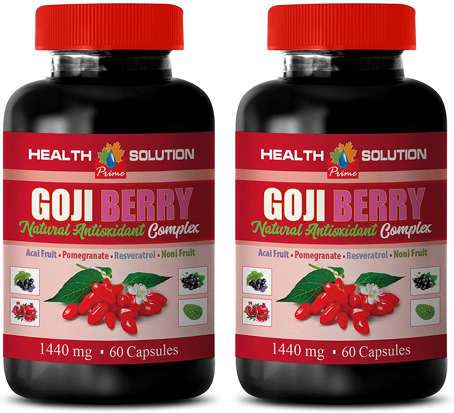 Brain Support Formula - Goji Berry - Natural ANTIOXIDANT Complex - Grape Skin Capsules - 2 Bottles 120 Capsules
