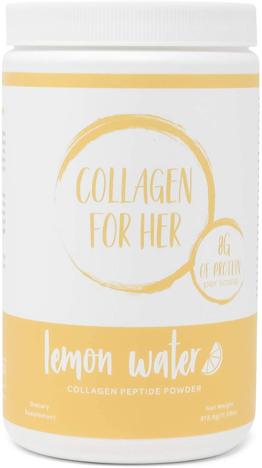 Collagen For Her: Collagen Lemon Water - Hydrolyzed Collagen Peptide Powder with Vitamin C and Electrolytes | Sugar Free, Non-GMO, Beauty Supplement for Hair, Skin, Nails, and Joints