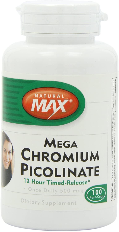 Naturalmax Mega Chromium Picolinate, 12hr Tr, 100-Count