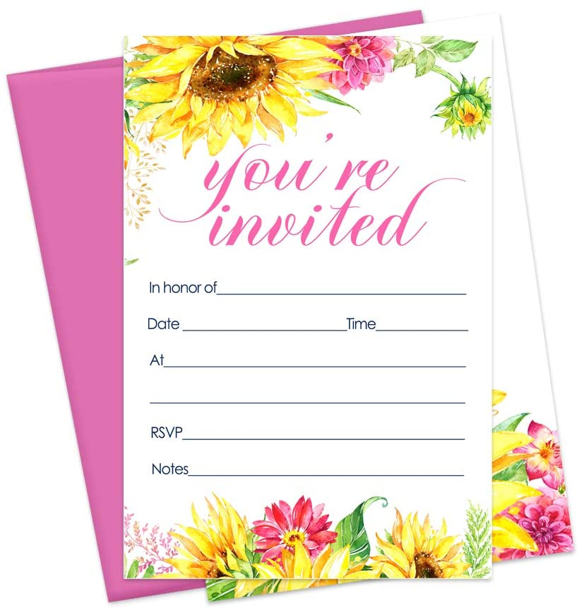Sunflower Invitations and Pink Envelopes (15 Cards) for Bridal Shower - Engagement - Wedding - Girls Baby Shower - Graduation - Blank Invite Cards Hand Write in Details - Fall Party Supplies