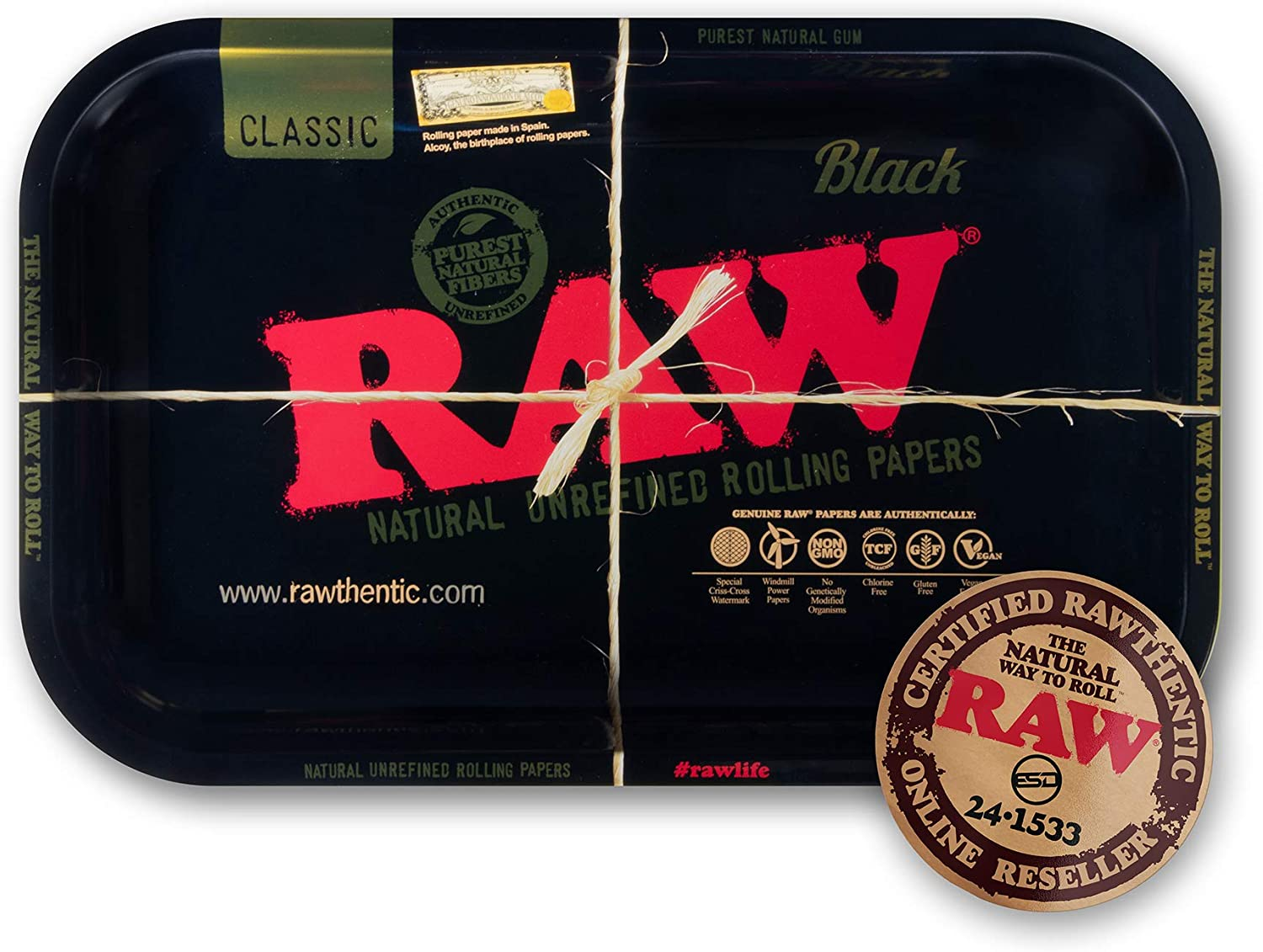 RAW Black Rolling Tray   Size - Small   Enhanced Finish Made with Polished Gold Toned Metal