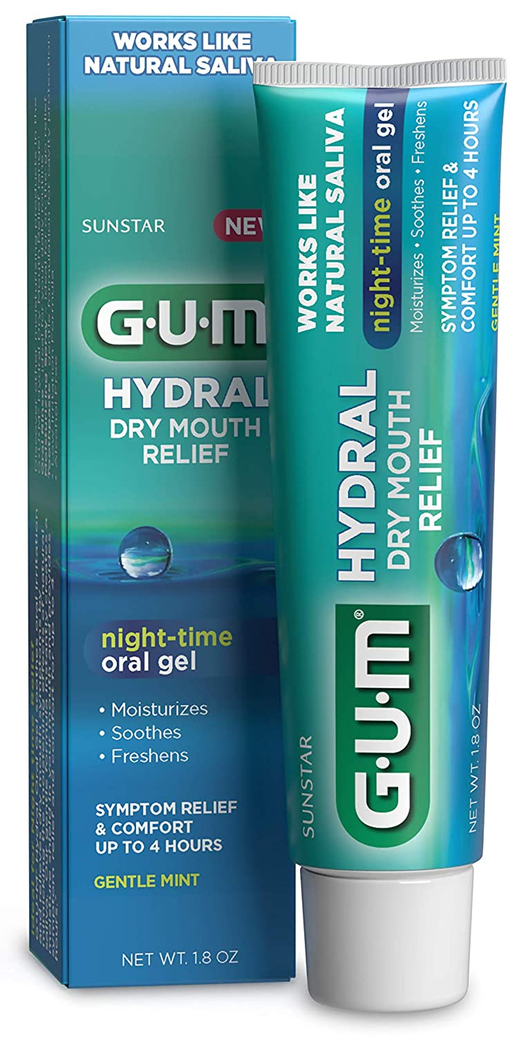 GUM Hydral Oral Gel, Alcohol-Free Gentle Mint Gel for Night-time Dry Mouth Relief, 1.8 oz