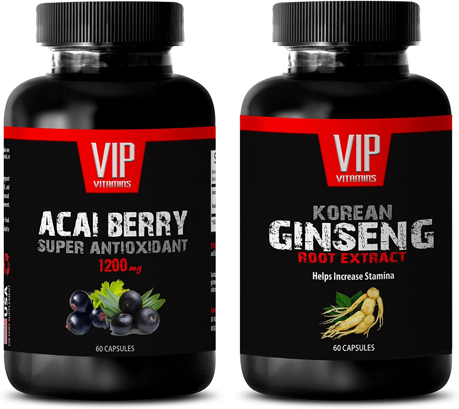 Female libido Booster - ACAI Berry Extract – Korean Ginseng Extract - acai Berry Diet - 2 Bottles Combo (60 Capsules + 60 Capsules)