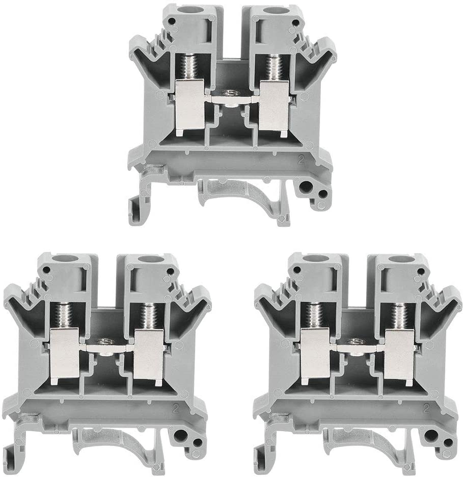 uxcell DIN Rail Terminal Block UK6N 800V 57A Screw Type Connector 6mm2 Grey 3 Pcs