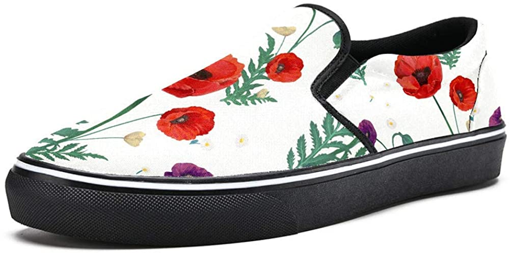 Red Poppy Blooming Blossom Canvas Shoes Lightweight Loafers Shoe for Woman