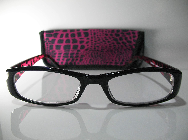 Foster Grant Vianca Black & Purple Leopard Print Womens Reading Glasses w/Case +2.75 Free Hard CASE + Microfiber Cloth