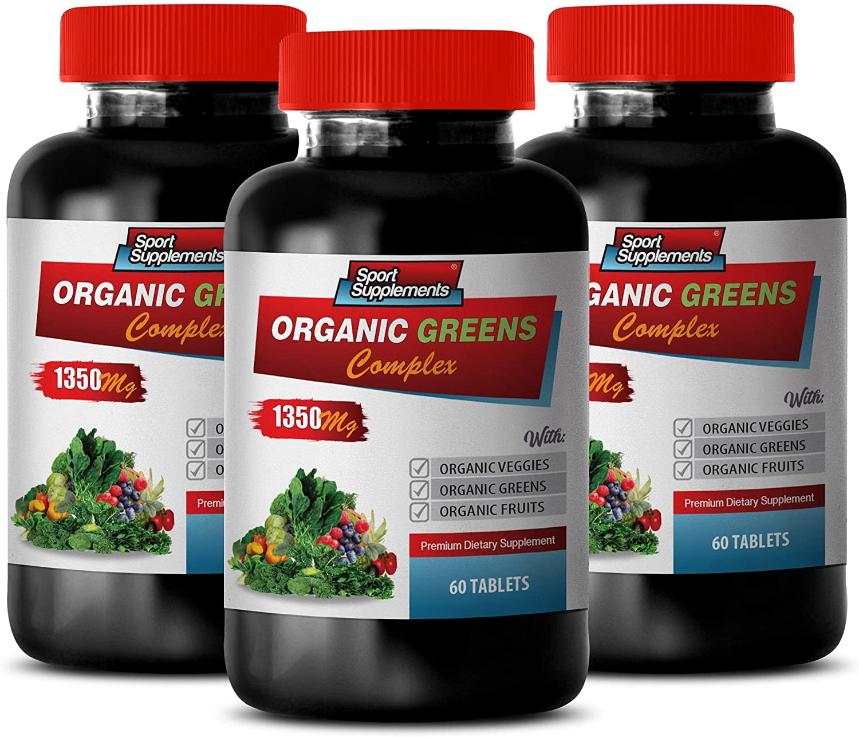 Cholesterol antioxidant Supplement - Organic Greens Complex 1350MG - Premium Dietary Supplement - Raspberry Vitamins - 3 Bottles 180 Tablets