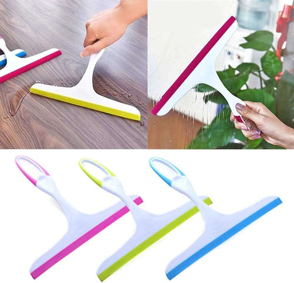 3Pcs Window Squeegee, Window Glass Cleaner Home Tools Soap Cleaner Soft Silicone Blade Home Shower Bathroom Mirror Scraper