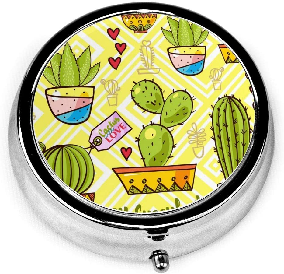 Cartoon Cactus Ball Love Round Pill Box Case Medicine Holder Pocket for Travel Portable Decorative Organizer