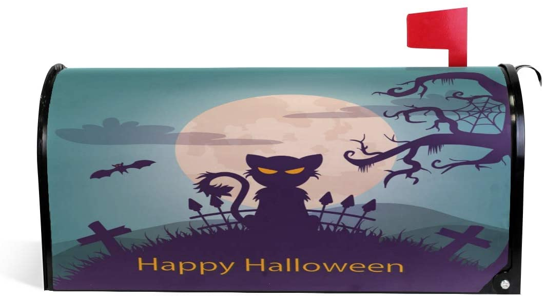 Huakz Halloween Mailbox Covers Magnetic Black Cat Shadow Mail Wraps Cover Letter Post Box 25.5x21 inch Moon Cemetery