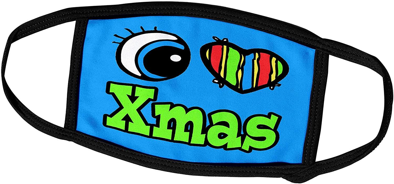 3dRose Dooni Designs Eye Heart I Love Designs - Bright Eye Heart I Love Xmas - Face Masks (fm_106707_2)