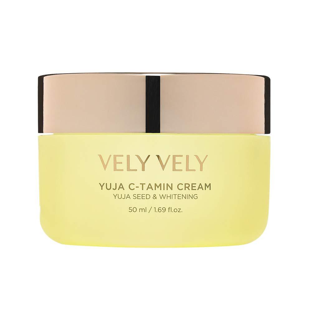 VELY VELY Yuja C-tamin Cream - Vitamin Brightening Cream for Moisturizing, Energizing, Blemish Care for Radiant and Even Skin Tone (1.69 fl.oz. / 50ml)