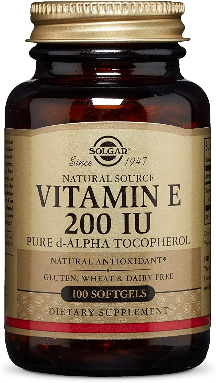Solgar Vitamin E 200 IU Alpha, 100 Softgels - Antioxidant, Healthy Aging, Healthy Skin, Immune System Support - Natural Source Vitamin E - Gluten Free, Dairy Free - 100 Servings