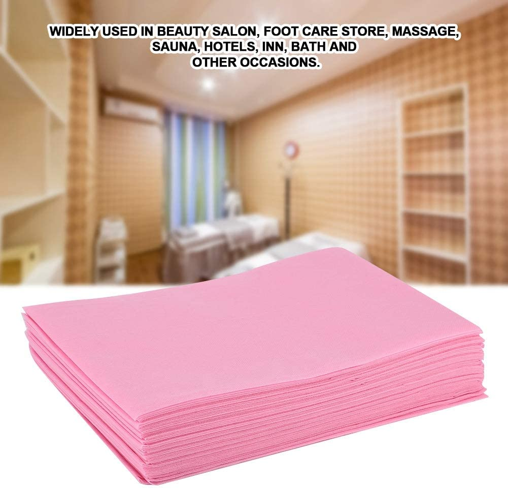 Bed Sheets Set, Disposable Bed Sheet Waterproof Oil-Proof Bed Cover for Salon SPA Tattoo Massage Table Hotels, Hypoallergenic, Wrinkle & Fade Resistant Bedding Sets(Pink)