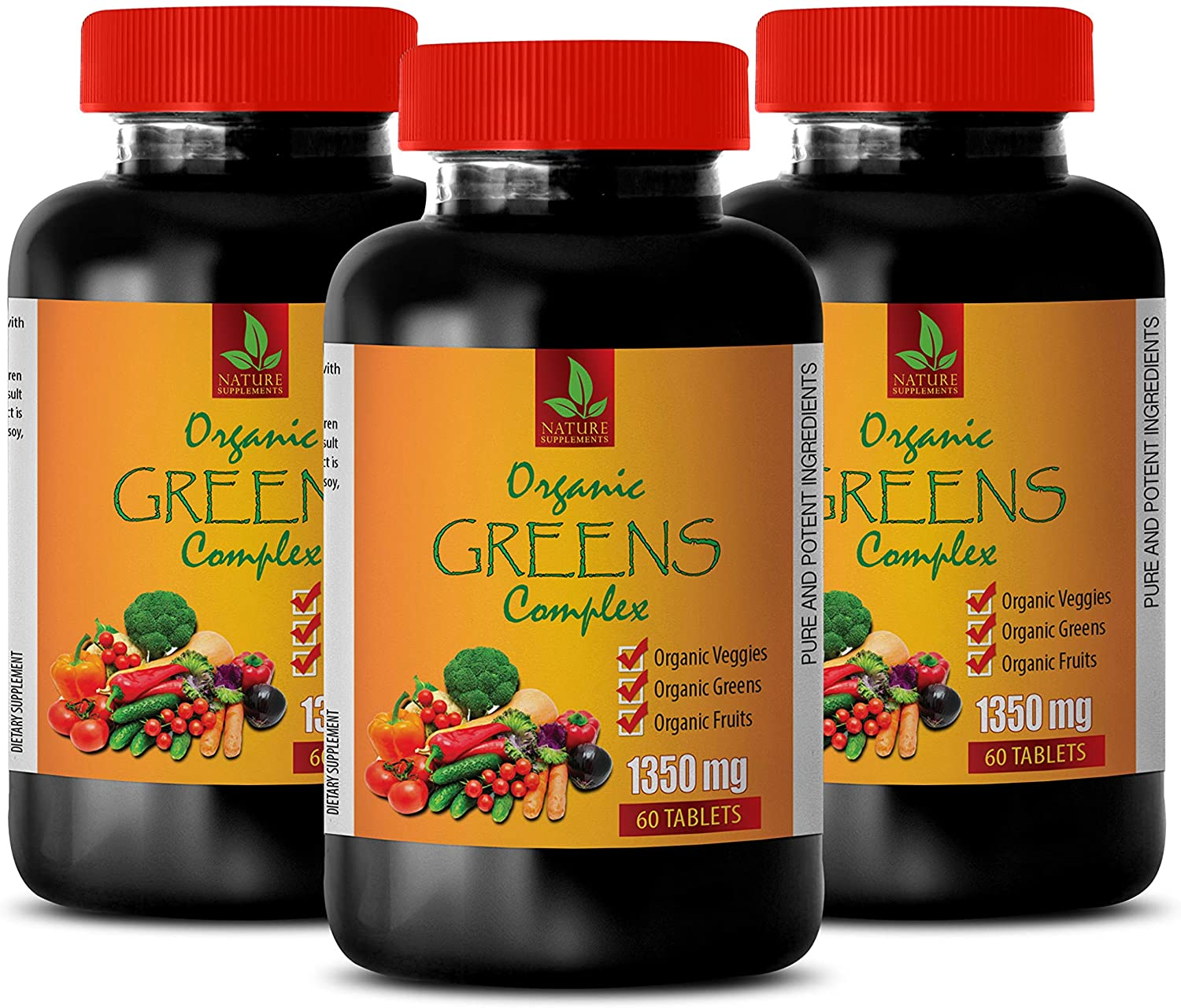 Brain and Memory Power Boost - Greens Complex Organic 1350 MG - Raspberry Weight Loss Pills - 3 Bottles 180 Tablets