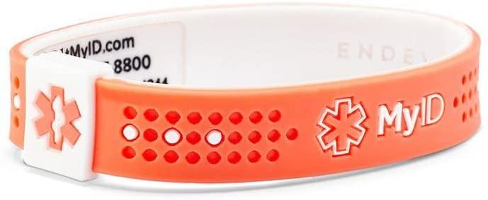 MyID Sport | Medical Alert ID Bracelet | Salmon/White (X-Small)
