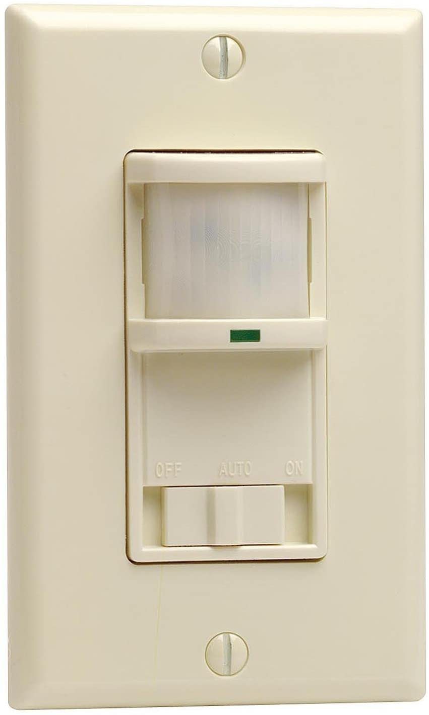 Leviton PR180-1LA Decora 500W Incandescent, 400VA, Passive Infrared Wall Switch Occupancy Sensor, Single Pole and 3-Way, Almond