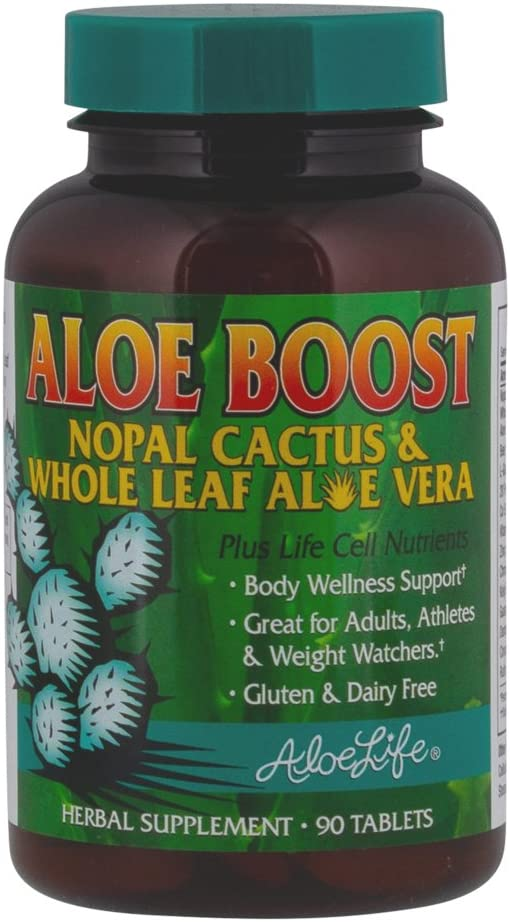 Aloe Life � Aloe Boost, Whole Leaf Aloe Vera and Nopal Cactus Tablets, Formula that Supports Body Wellness, Great for Adults, Athletes and Weight Watchers, Gluten and Dairy Free (90 Tablets)
