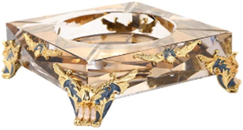 Rnwen Ashtray European-Style Luxury Creative Phnom Penh Enamel Ashtray Exquisite Home Gift Alloy Crystal Ashtray (Color : Gold, Size : 20X20X6cm)